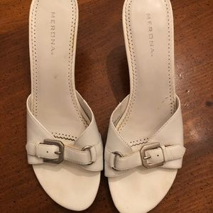 Merona White Open-Toe Slip On Heels - Size 8.5